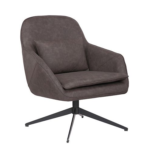 Leatherette Armchair with Metal Legs and Rubber Protectors - Series James - Dark Brown