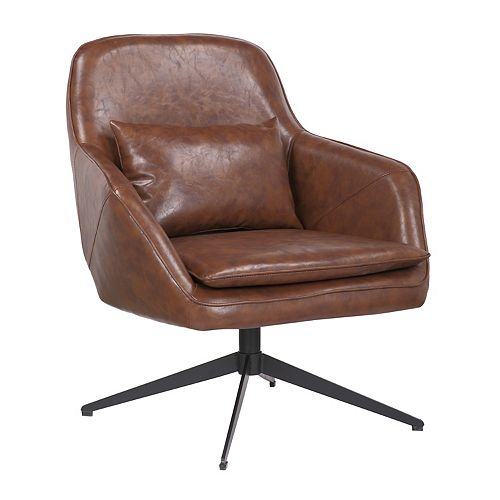 Leatherette Armchair with Metal Legs and Rubber Protectors - Series James - Vintage Brown
