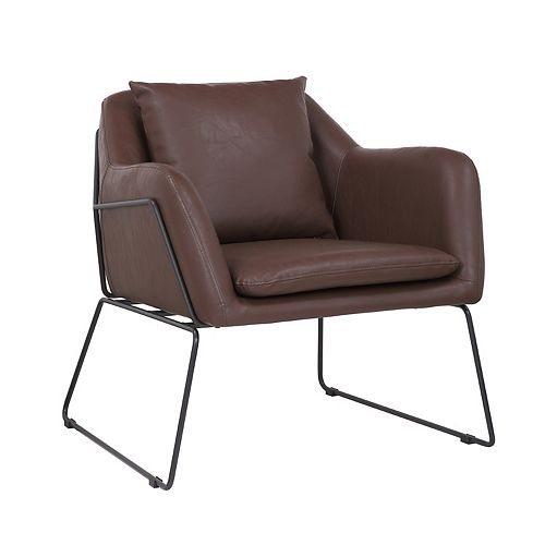Leatherette Armchair with Metal Legs and Rubber Protectors - Series Mason - Walnut Brown