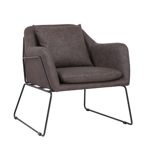 Leatherette Armchair with Metal Legs and Rubber Protectors - Series Mason - Dark Brown