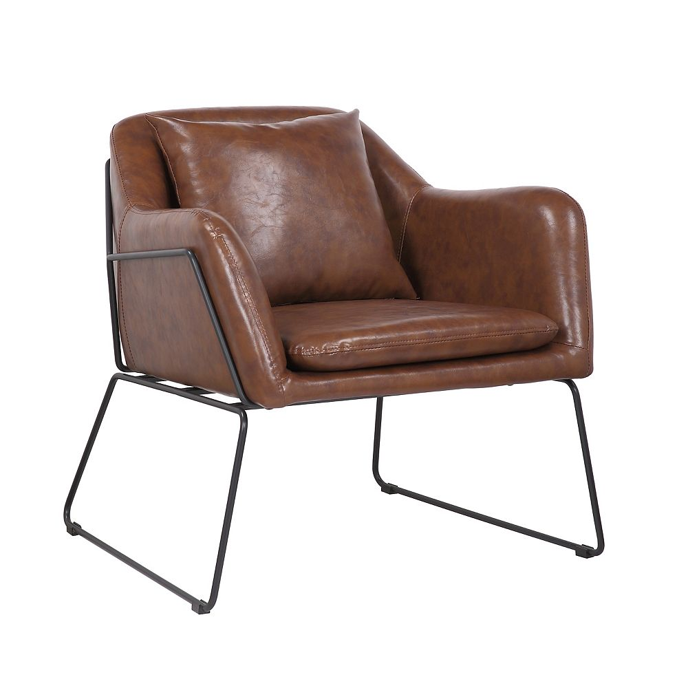 Bronte Living Leatherette Armchair with Metal Legs and Rubber Protectors - Series Mason - Vintage Brown