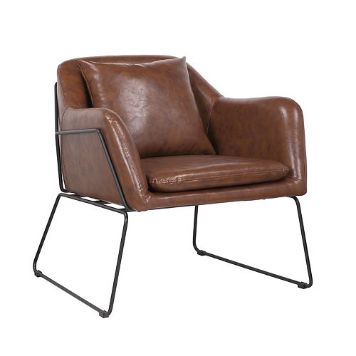 Leatherette Armchair with Metal Legs and Rubber Protectors - Series Mason - Vintage Brown