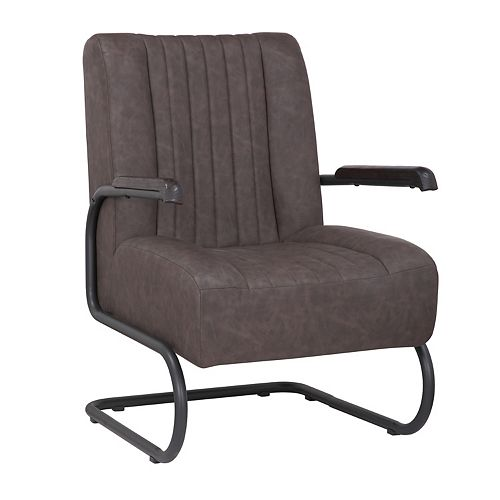 Leatherette Armchair with Metal Legs and Rubber Protectors - Series Lucas - Dark Brown