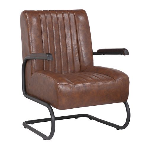 Leatherette Armchair with Metal Legs and Rubber Protectors - Series Lucas - Vintage Brown