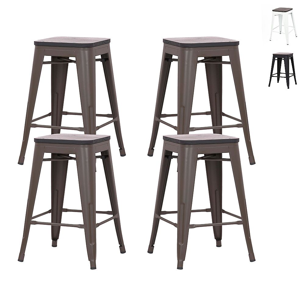 """Bronte Living 24"""" Metal Tolix Counter Stool Backless with Wooden Seat - Antique Espresso - Set of 4"""
