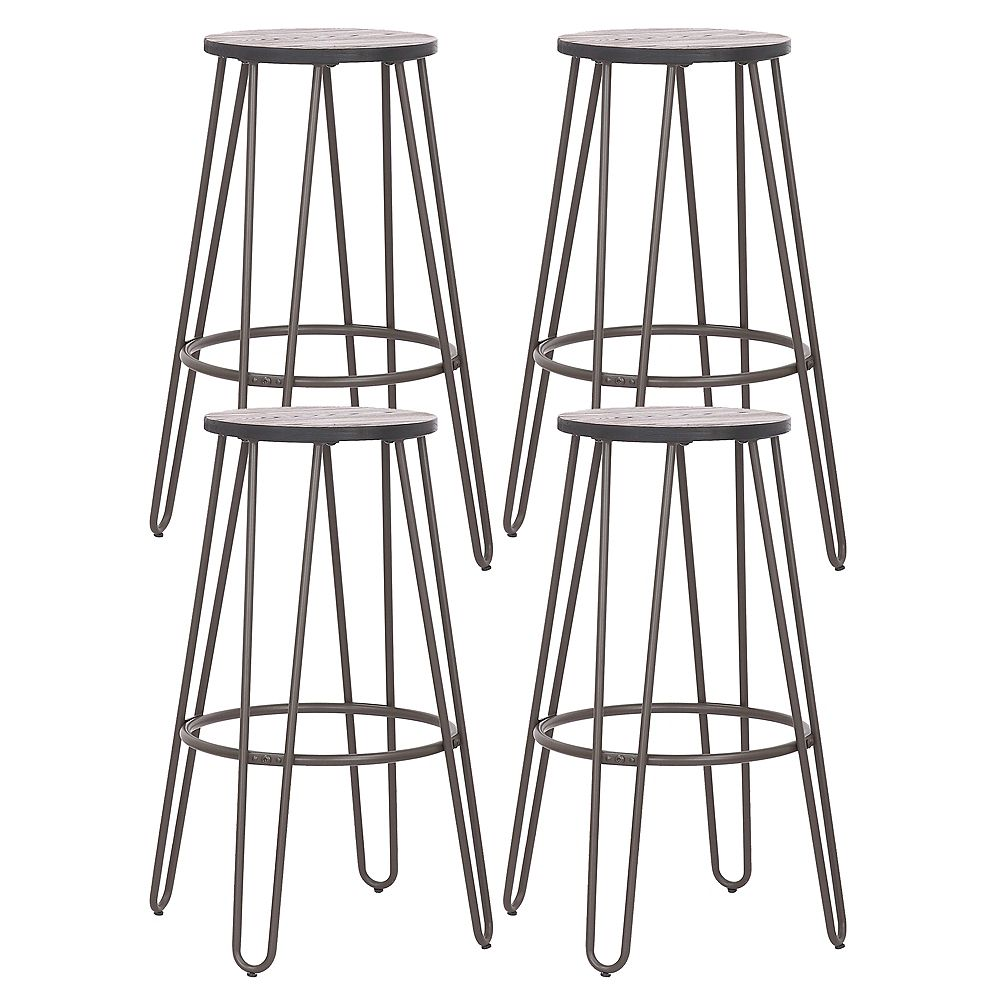 """Bronte Living 24"""" Modern Metal Counter Stool Backless with footrest and wooden seat - Antique Espresso - Set of 4"""