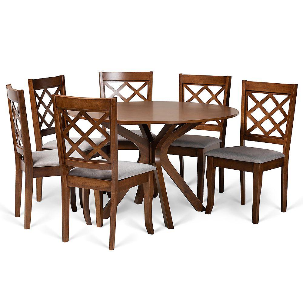 Baxton Studio Jana 7-Piece Dining Set in Grey and walnut brown