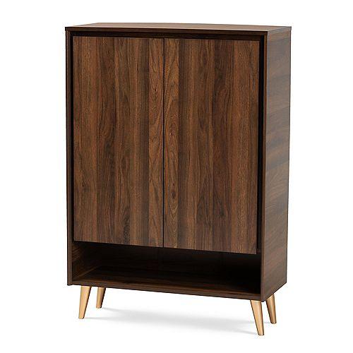 Landen 5-Shelf Shoe Storage Cabinet in Walnut Brown and Gold