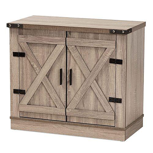 Wayne 3-Shelf Shoe Storage Cabinet in Oak brown