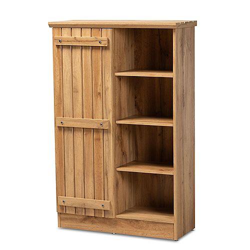 Eren 7-Shelf Shoe Storage Cabinet in Oak Brown