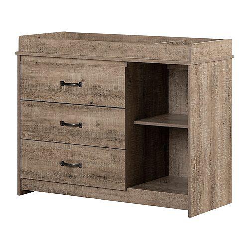 Tassio 36.5' x 45.75' x 19' Particules de bois laminées 3 tiroirs Table à langer en Gris vieilli