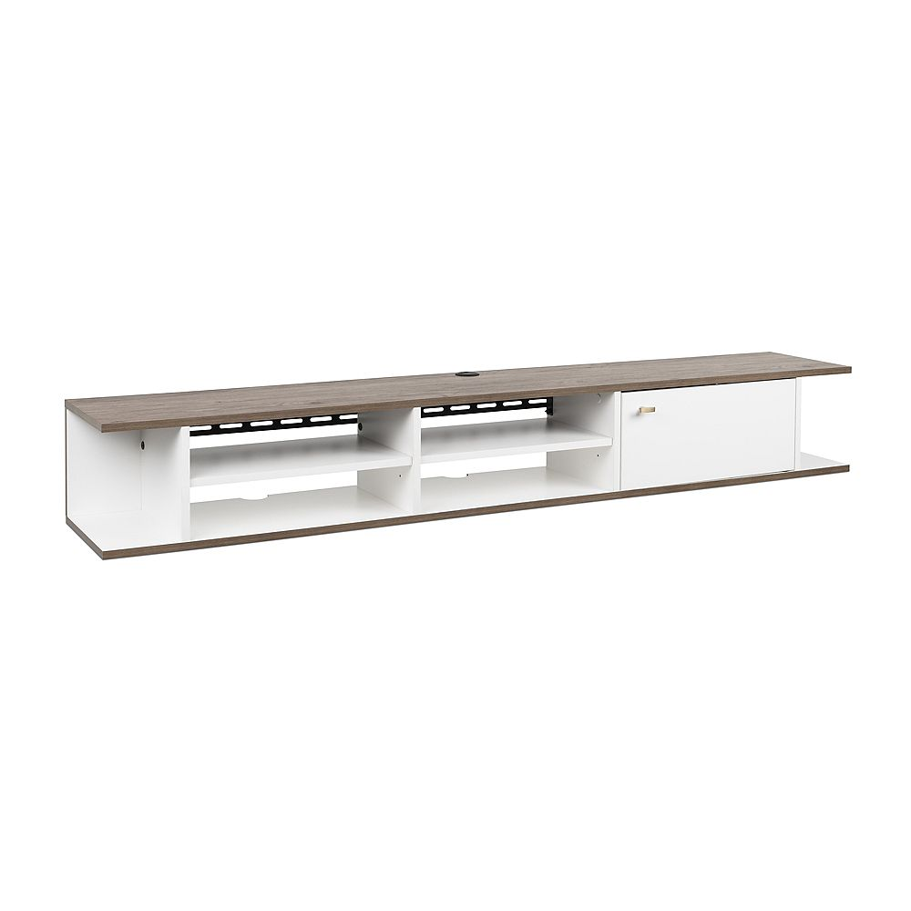 Prepac Wall Mounted Media Console with Door, White and Drifted Gray