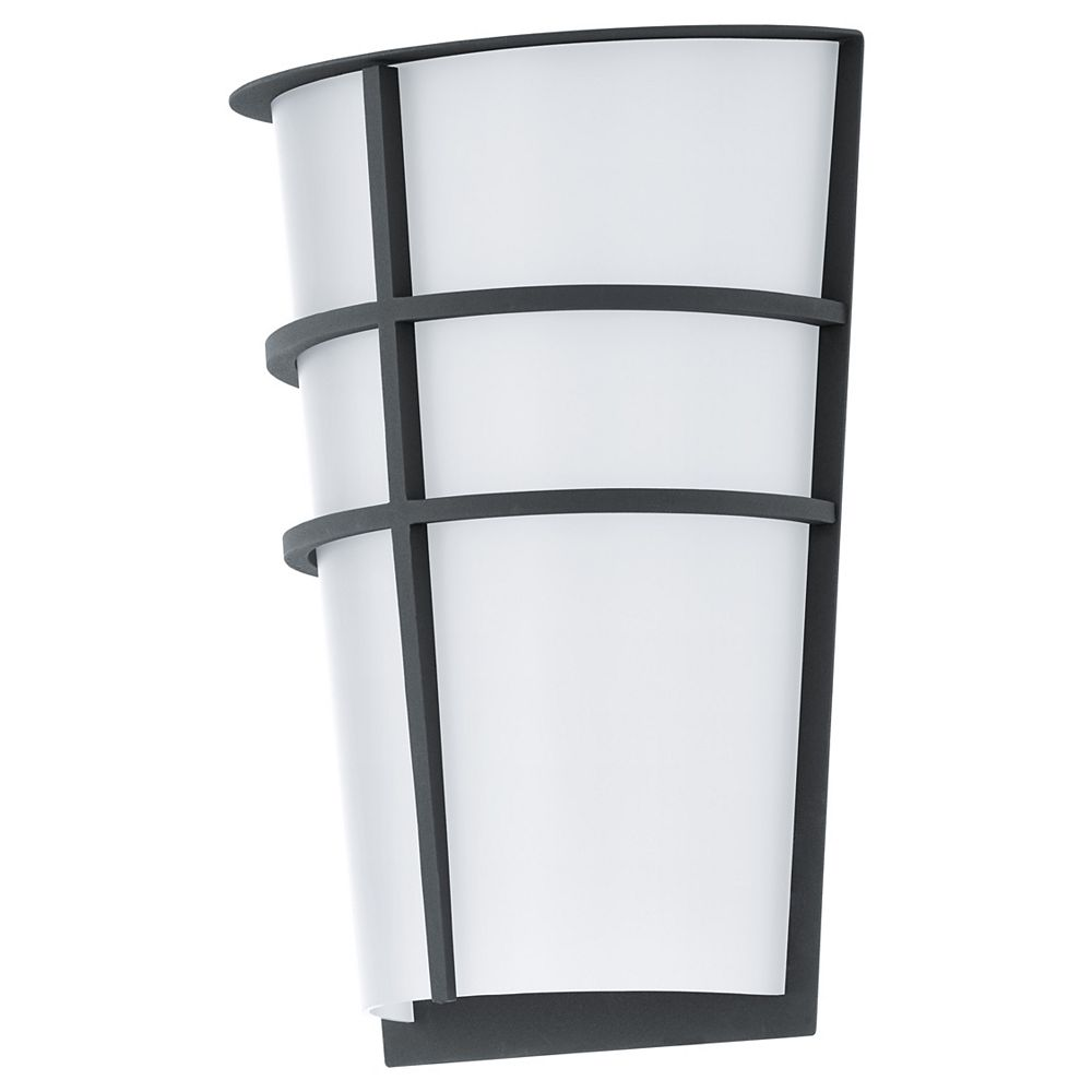 Eglo Breganzo LED Outdoor Wall Light, Anthracite Finish with White Acrylic Shade