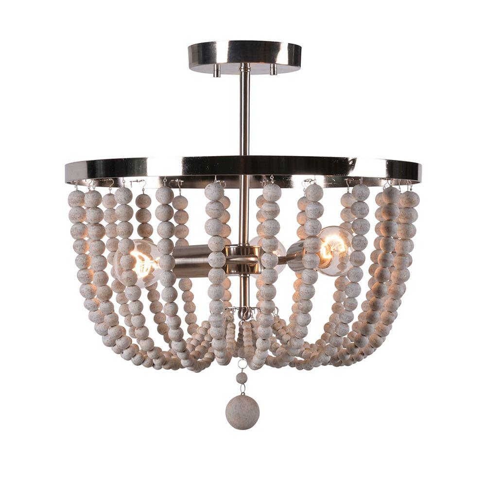 Kenroy Home Dumas 3-Light Brushed Steel Wood Bead Semi-Flush Mount light