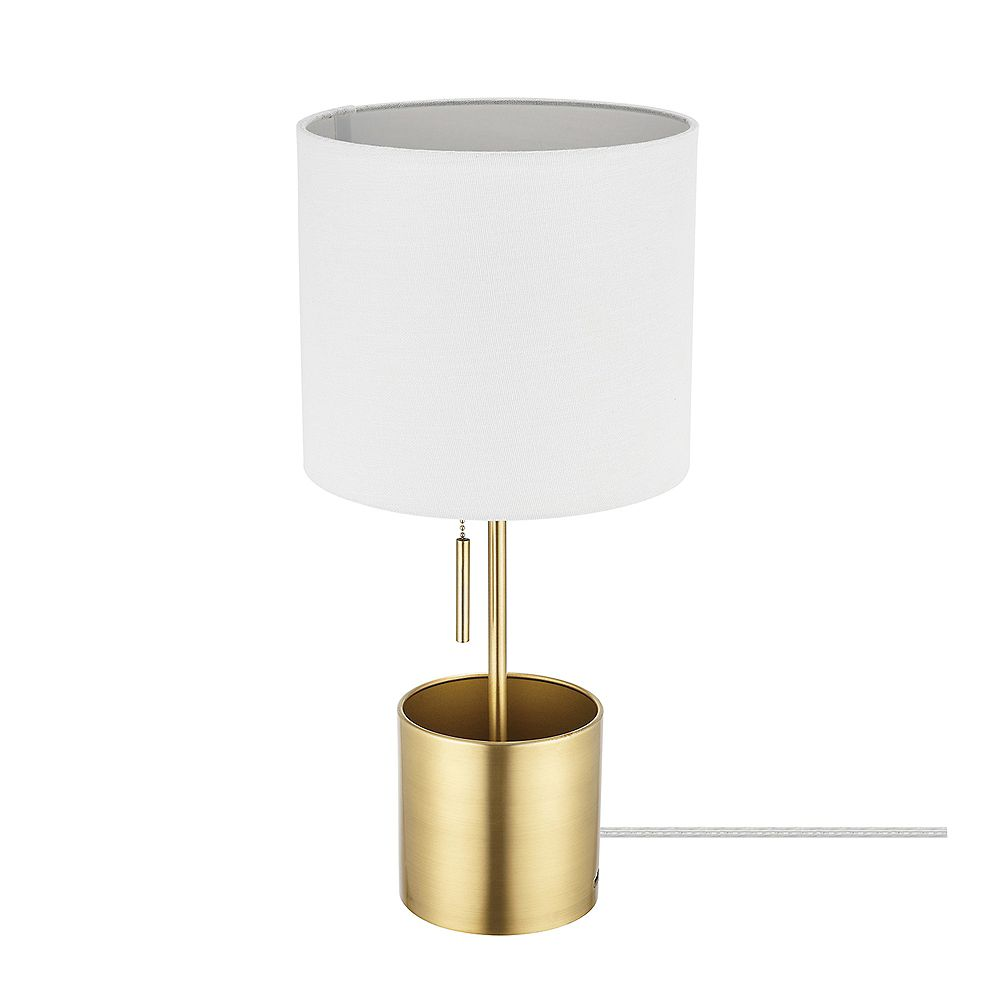 Globe Electric Pratt Matte Brass Organizer Base Table Lamp with White Fabric Shade and 1A USB Port