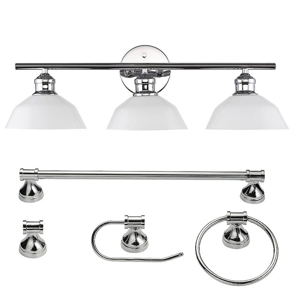 Globe Electric Johnson 5-Piece Chrome Bathroom Set with 3-Light Vanity Light