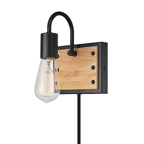 Oakland 1-Light Matte Black and Faux Wood Plug-In or Hardwire Wall Sconce with In-Line On/Off Switch