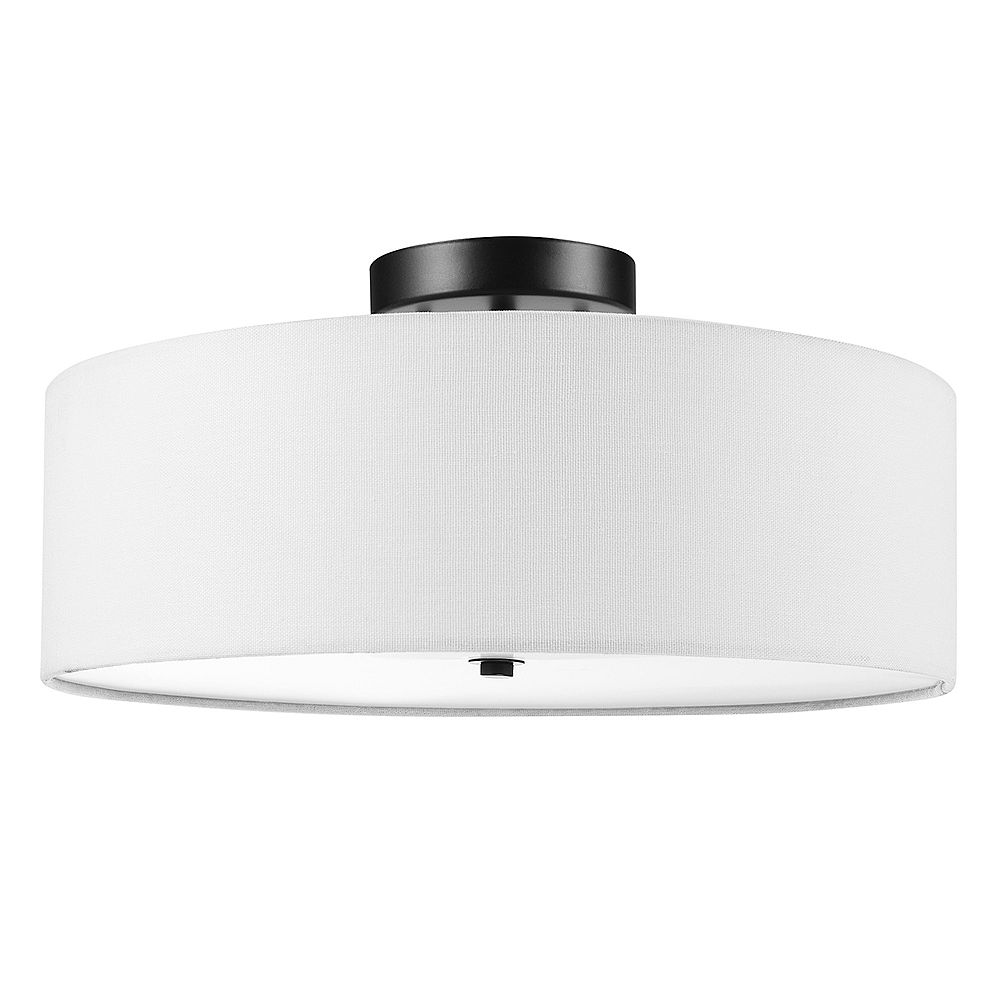 Globe Electric Kyle 2-Light Dark Bronze Flush Mount Ceiling Light with White Linen Shade