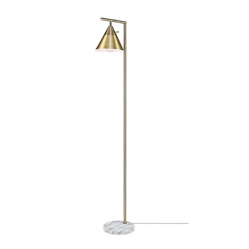 Globe Electric Tristan 65-inch Floor Lamp in Matte Brass with Faux Marble Base and Stepless Rotary Dimmer Switch