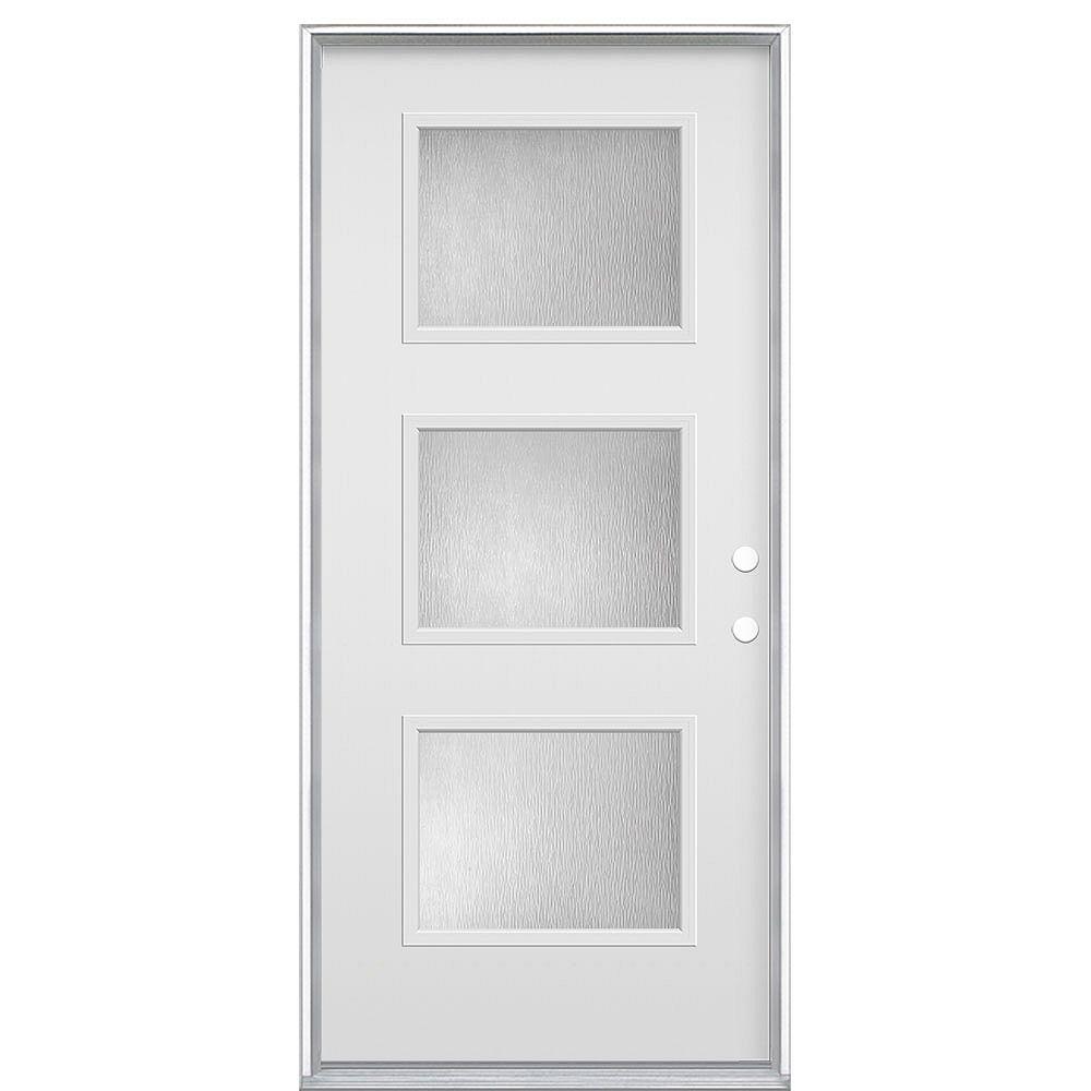 Masonite 32-inch x 80-inch Chord 3 Equal Lite Primed Steel Prehung Front Door