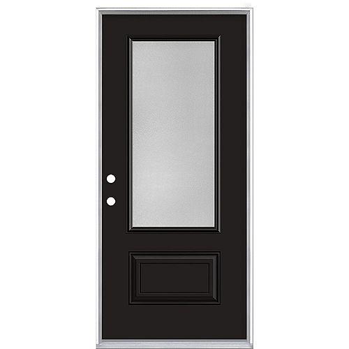 Porte d'entrée prémontée verre 3/4 Pear Hollister, 34 po x 80 po, acier, peinte noire