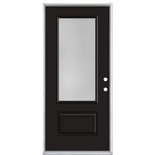 Porte d'entrée prémontée verre 3/4 Pear Hollister, 36 po x 80 po, acier, peinte noire