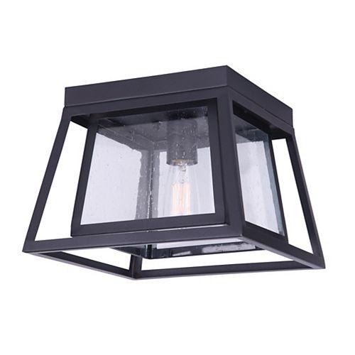 Grove 1-Light Black Outdoor Flushmount