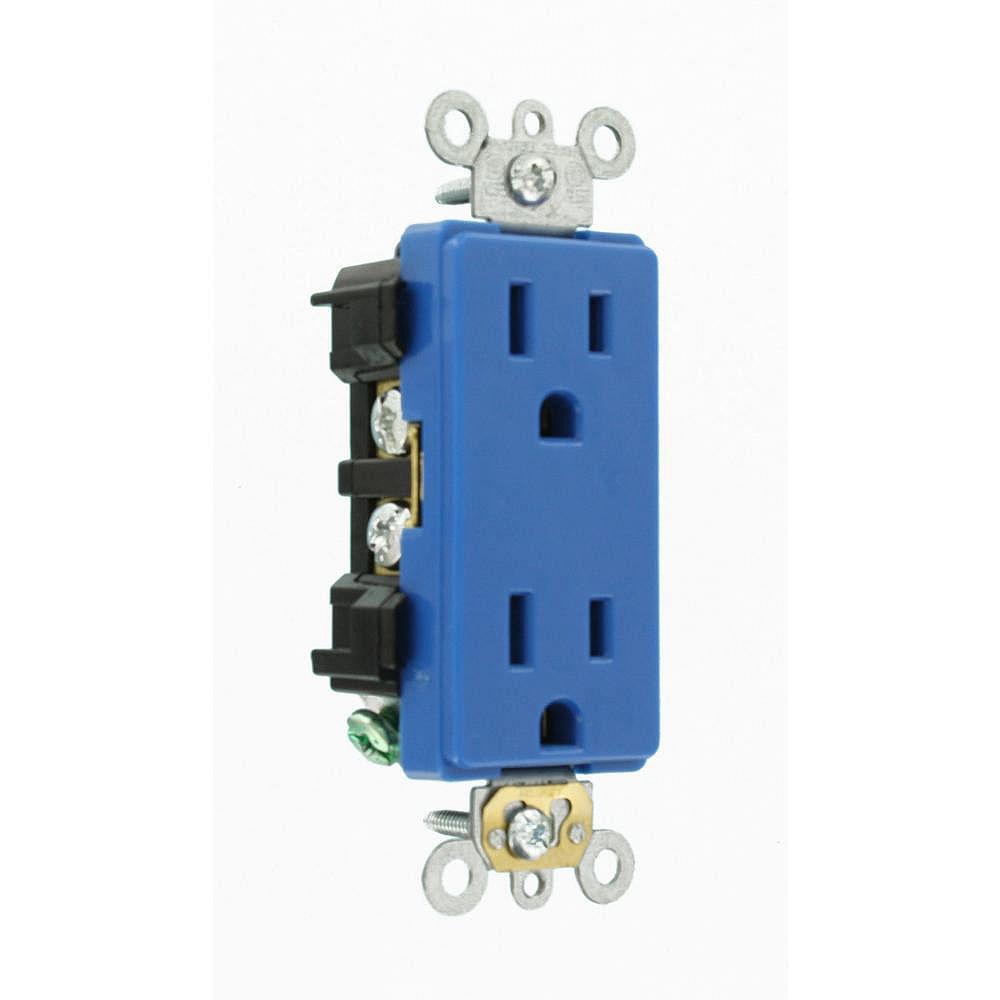 Leviton Decora 15 Amp Commercial Grade Self Grounding Duplex Outlet, Blue