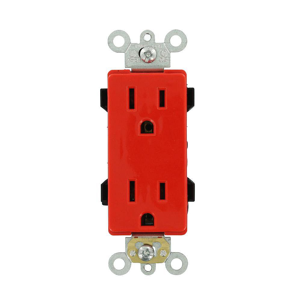 Leviton Decora 15 Amp Commercial Grade Self Grounding Duplex Outlet, Red