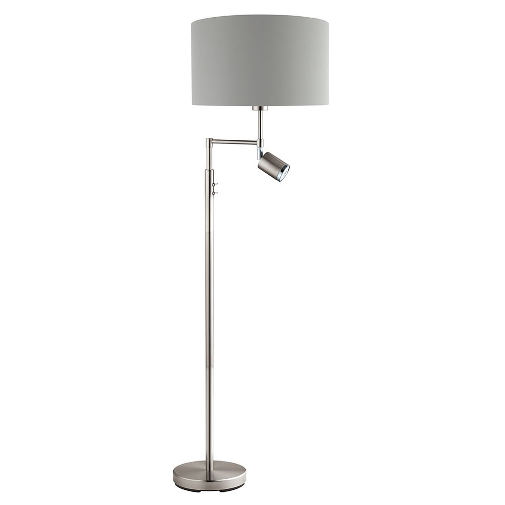 Eglo Santander 59.88-inch Chrome Floor Lamp with Grey and Silver Shade and Reading Lamp