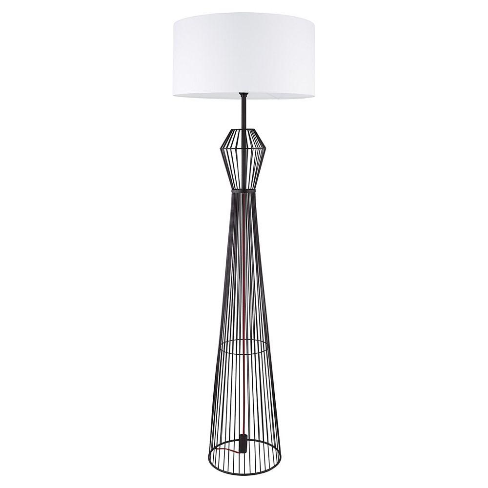 Eglo Valseno 65-inch Matte Black Floor Lamp with White Fabric Shade