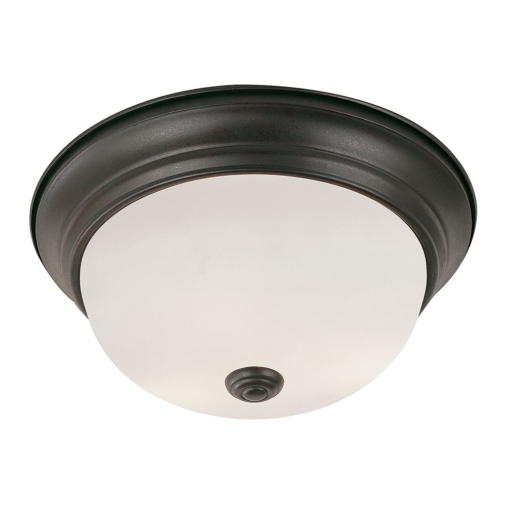 Bel Air Lighting Bowers 11 in. 2-Light Rubbed Oil Bronze Flush Mount with Frosted Glass Shade