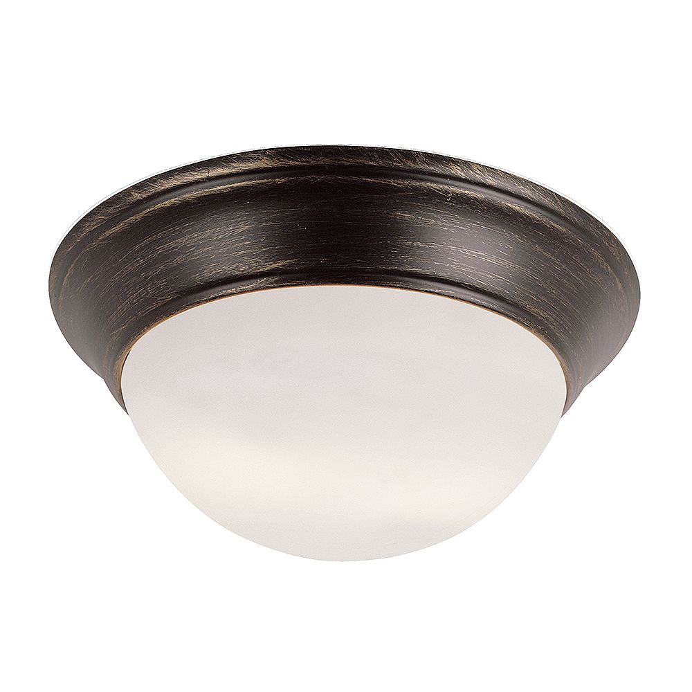 Bel Air Lighting Bolton 12 in. 2-Light Rubbed Oil Bronze Flush Mount with Frosted Glass Shade