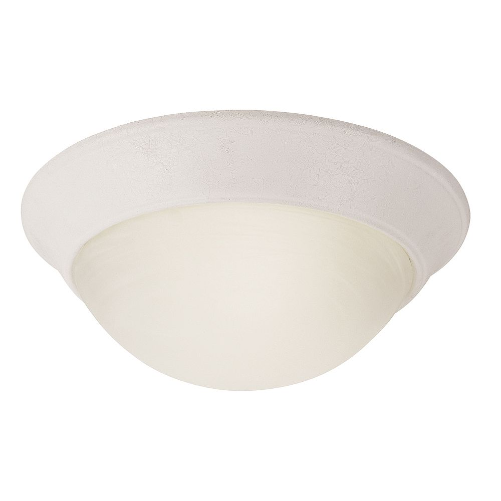 Bel Air Lighting Bolton 12 in. 1-Light White Flush Mount with Frosted Glass Shade