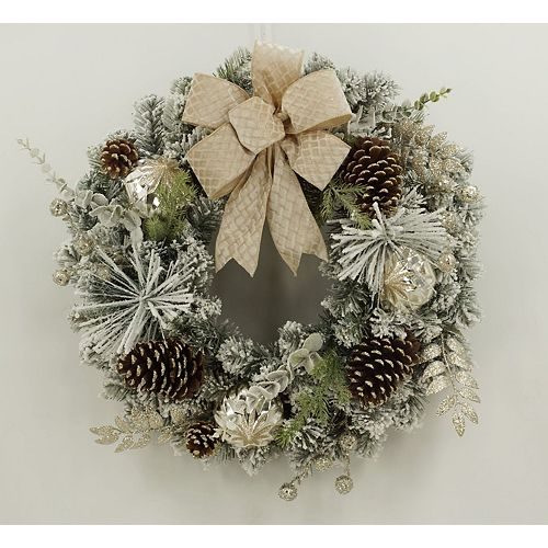 26-inch Flocked Pine Christmas Wreath with Gold Accent