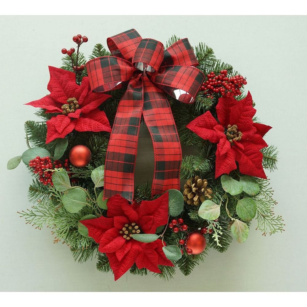 Home Accents Holiday 26-inch Unlit Noble Pine and Poinsettia Christmas Wreath
