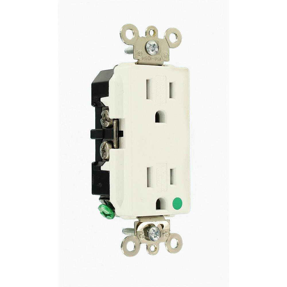 Leviton Decora 15 Amp Hospital Grade Extra Heavy Duty Tamper Resistant Self Grounding Duplex Outlet, White