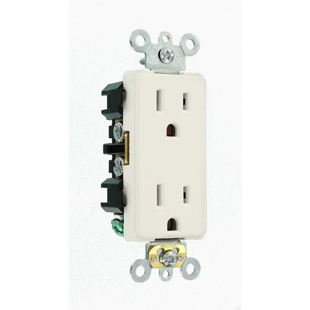 Leviton Decora 15 Amp Industrial Grade Heavy Duty Self Grounding Duplex Outlet, White
