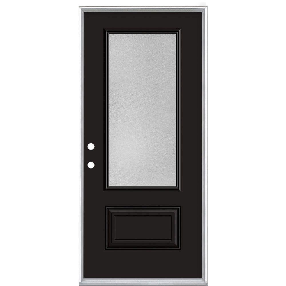 Masonite 34-inch x 80-inch Black Hollister Pear 3/4 Lite Painted Steel Prehung Front Door