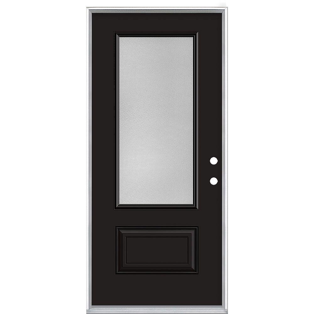 Masonite 36-inch x 80-inch Black Hollister Pear 3/4 Lite Painted Steel Prehung Front Door