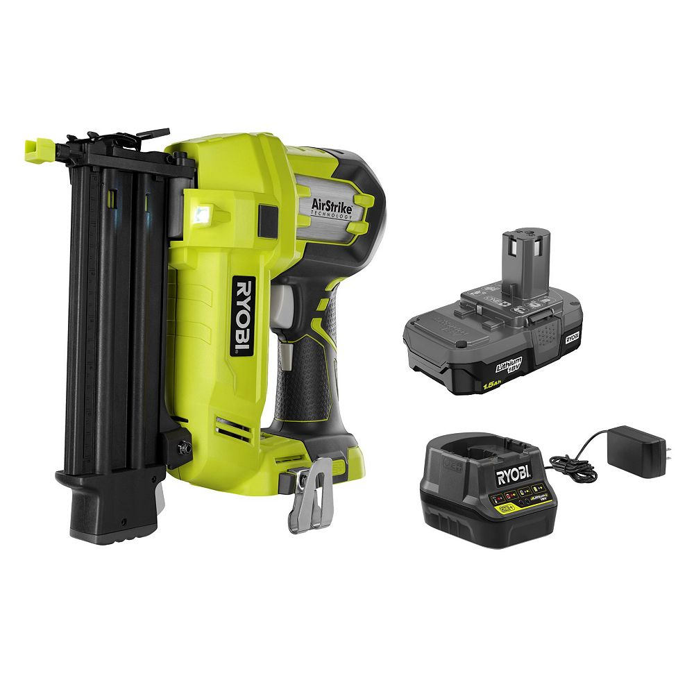 RYOBI 18V ONE+ AirStrike 18-Gauge Cordless Lithium-Ion Brad Nailer Kit with 1.5 Ah Battery and Charger