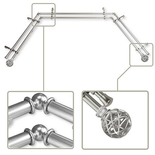 """13/16"""" Dia Adjustable Bay Window Double Curtain Rod in Satin Nickel with London Finials"""