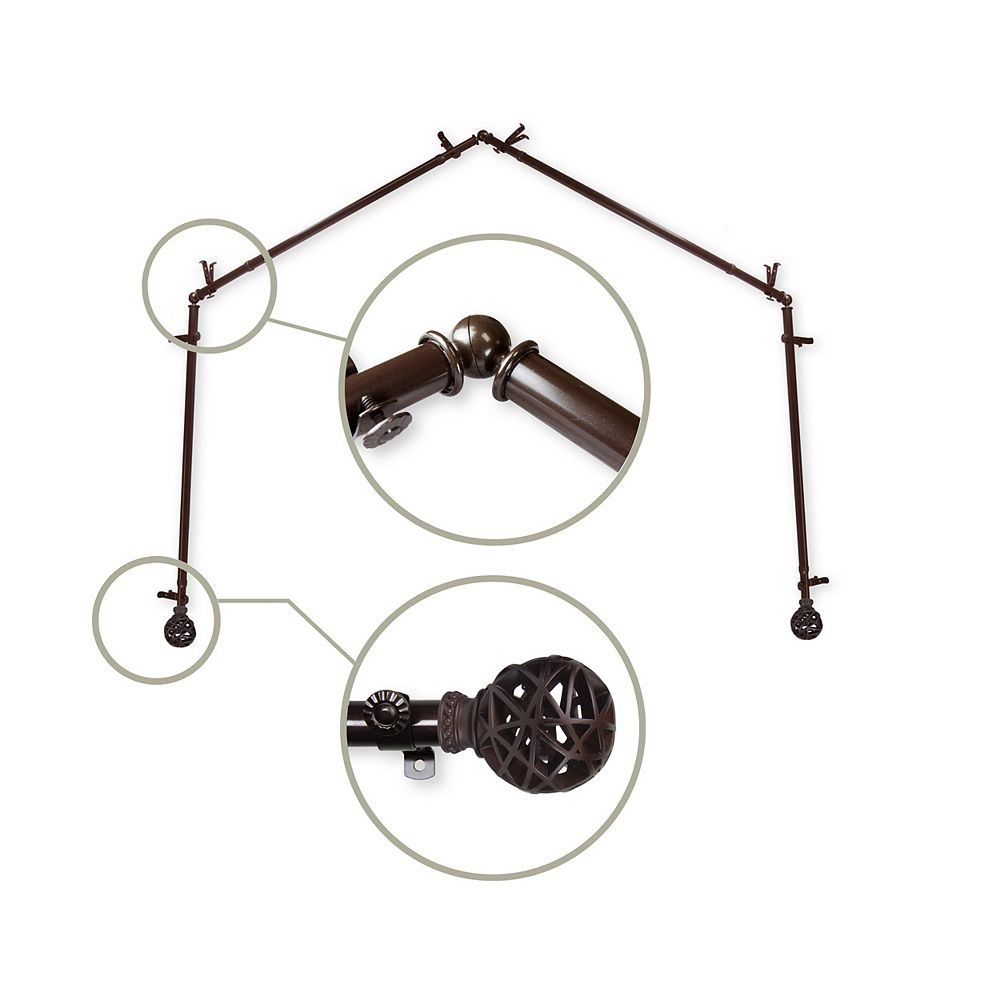 """Rod Desyne 13/16"""" Dia Adjustable 4 Sided Bay Window Curtain Rod  in Cocoa with London Finials"""