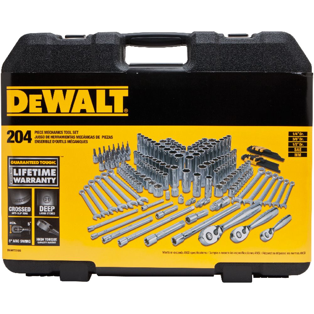DEWALT 1/4-inch, 3/8-inch, and 1/2-inch Drive Mechanics Socket Set (204-Piece) includes Ratchets, Extensions, Combination Wrenches and Hex Keys