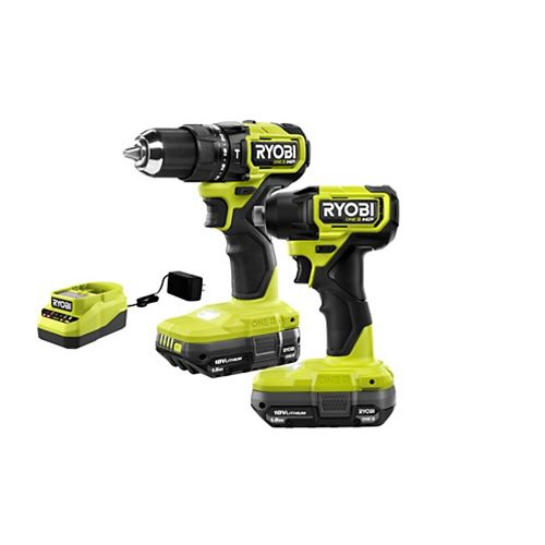 18V ONE+ HP Compact Brushless Hammer Drill and Impact Kit with (2) 1.5 Ah Batteries and Charger