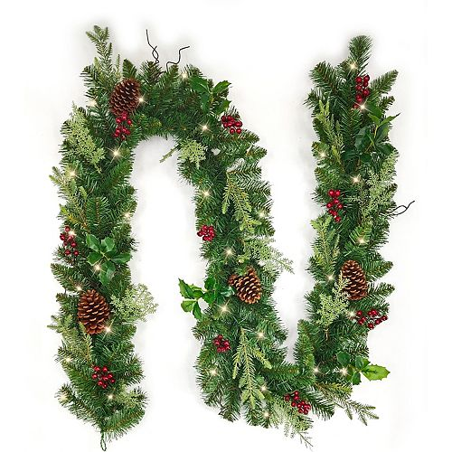 9 ft. Holly & Berries Battery Operated LED Pre-Lit Christmas Garland with Timer