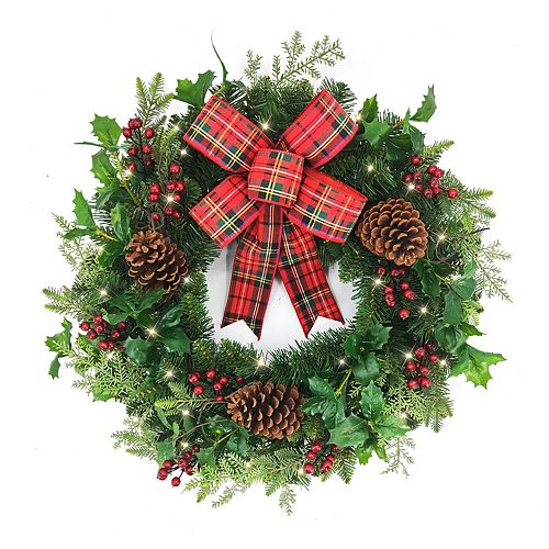 26-inch Holly & Berries Battery Operated LED Pre-Lit Christmas Wreath with Timer