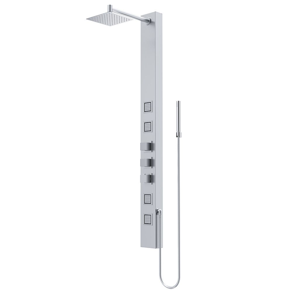VIGO Sutton 58 in. x 5 in. 4-Jet High Pressure Shower Panel System with Square Fixed Rainhead in Stainless Steel