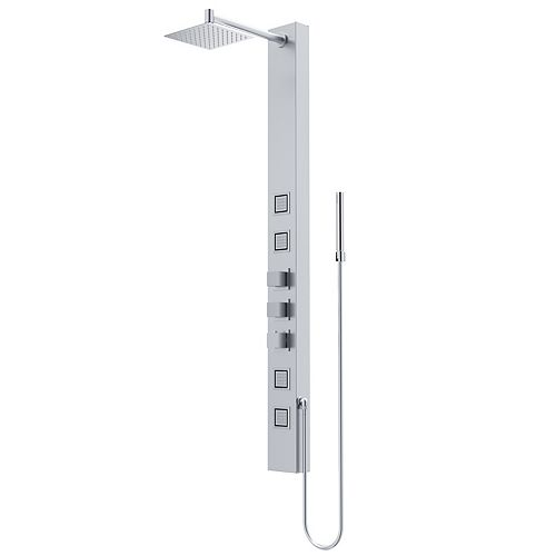 Sutton 58 in. x 5 in. 4-Jet High Pressure Shower Panel System with Square Fixed Rainhead in Stainless Steel
