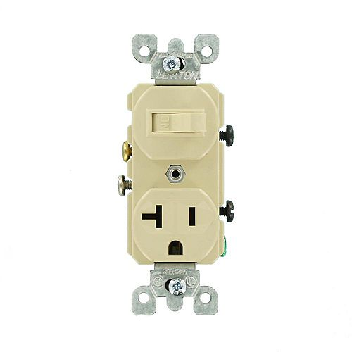 20 Amp Commercial Grade Combination Single Pole Switch and Receptacle in Ivory